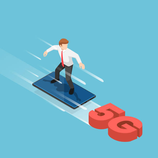 Isometric businessman use smartphone to surfing on the 5G signal vector art illustration