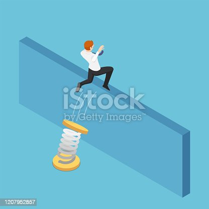 Flat 3d isometric businessman use spring to jumping over the wall. Business solution and overcome obstacle concept.
