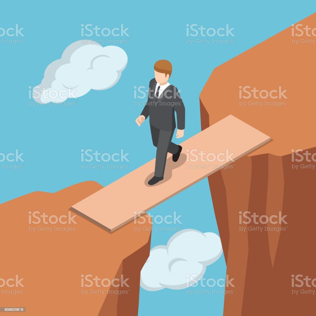 Isometric businessman walking on wooden bridge across the gap between cliff. vector art illustration
