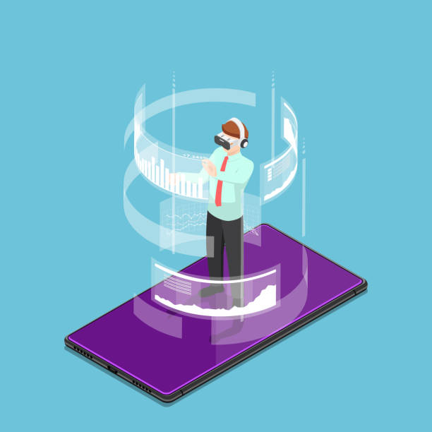 Isometric businessman wearing virtual reality headset and standing on smartphone Flat 3d isometric businessman wearing virtual reality headset and standing on smartphone. Augmented and virtual reality technology concept. augmented reality stock illustrations