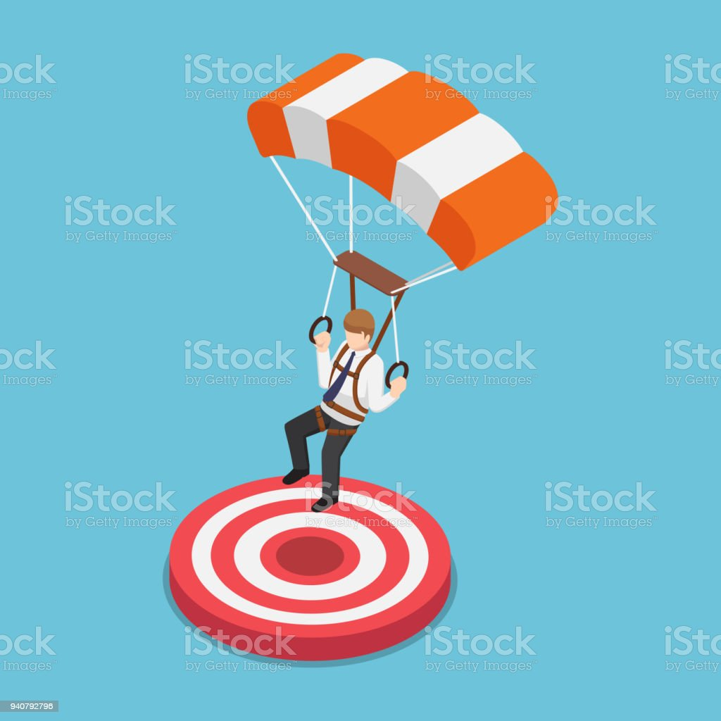 Isometric businessman with parachute landing on the target. vector art illustration