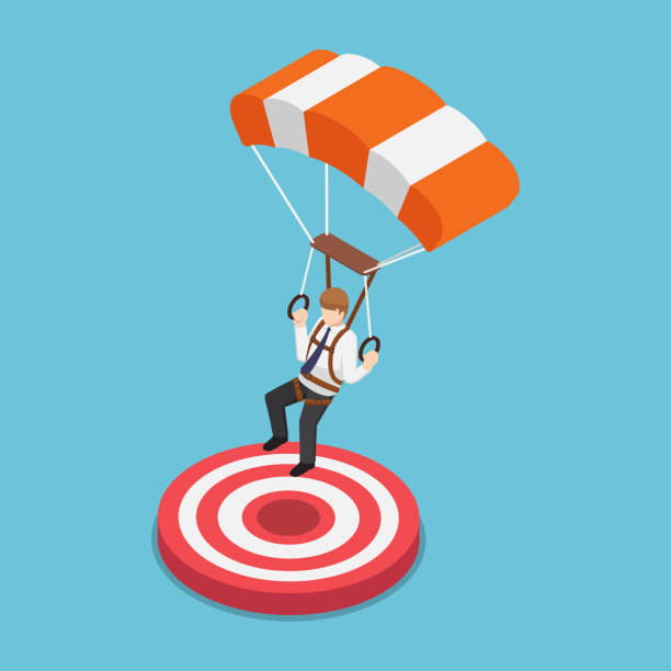 Isometric businessman with parachute landing on the target. Flat 3d isometric businessman with parachute landing on the target. Business success concept. parachuting stock illustrations