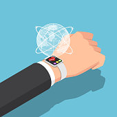 Flat 3d isometric businessman with smartwatch on his wrist and virtual world. Business and technology concept.