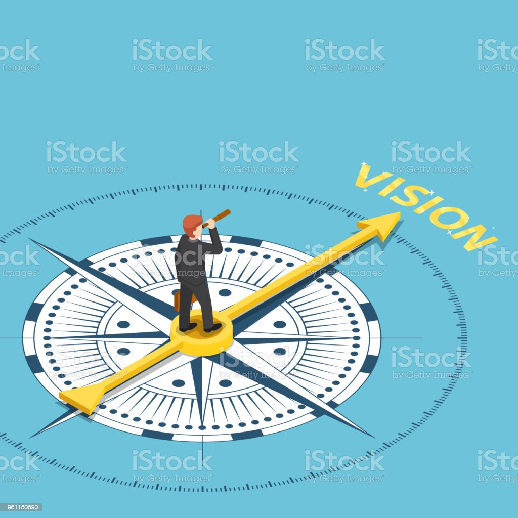 Isometric businessman with spyglass telescope on compass that point to vision word vector art illustration