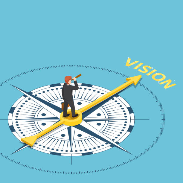 isometric businessman with spyglass telescope on compass that point to vision word - future stock illustrations