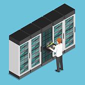 Flat 3d isometric businessman working on laptop in database center or server room. Database server management concept.
