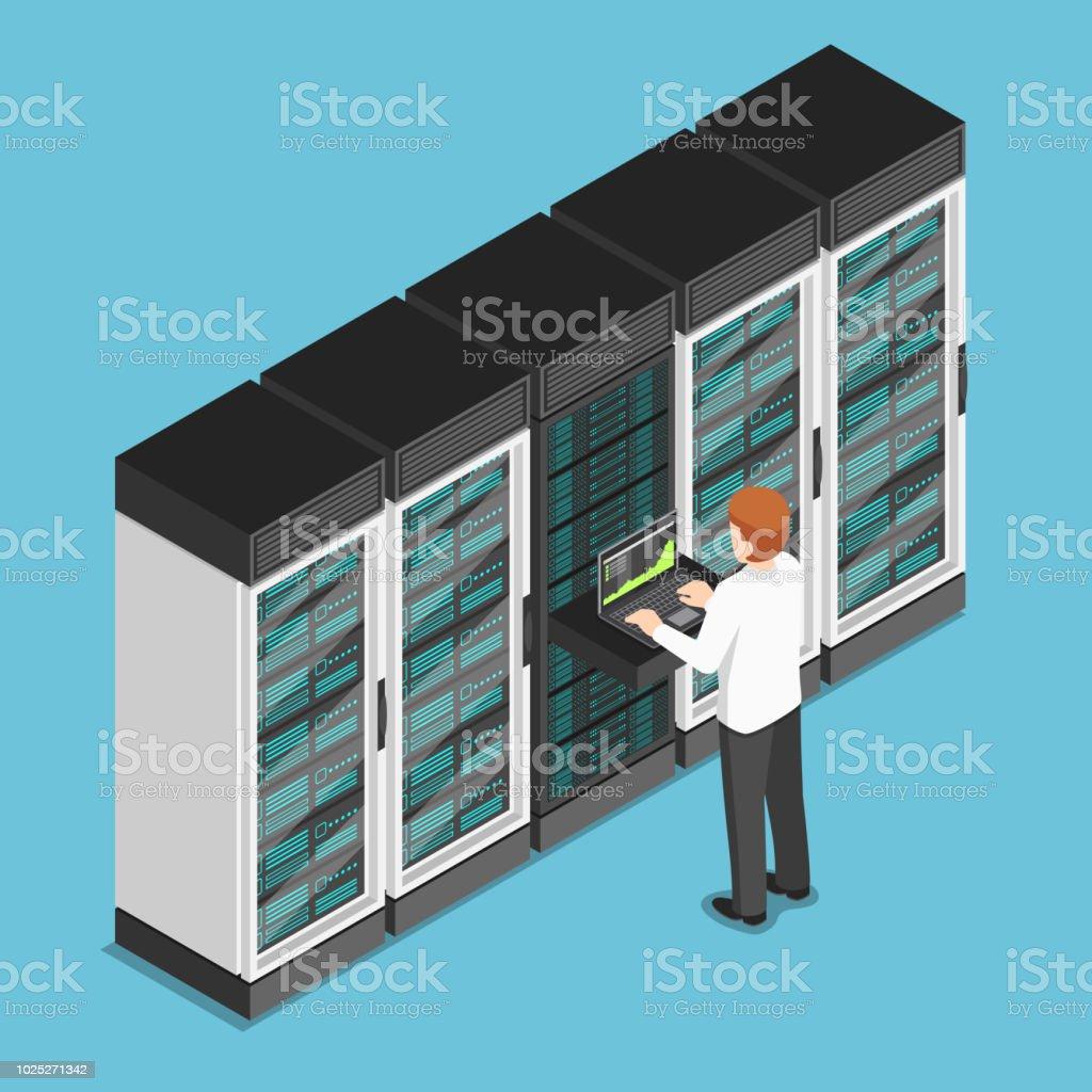 Isometric businessman working on laptop in database center or server room vector art illustration