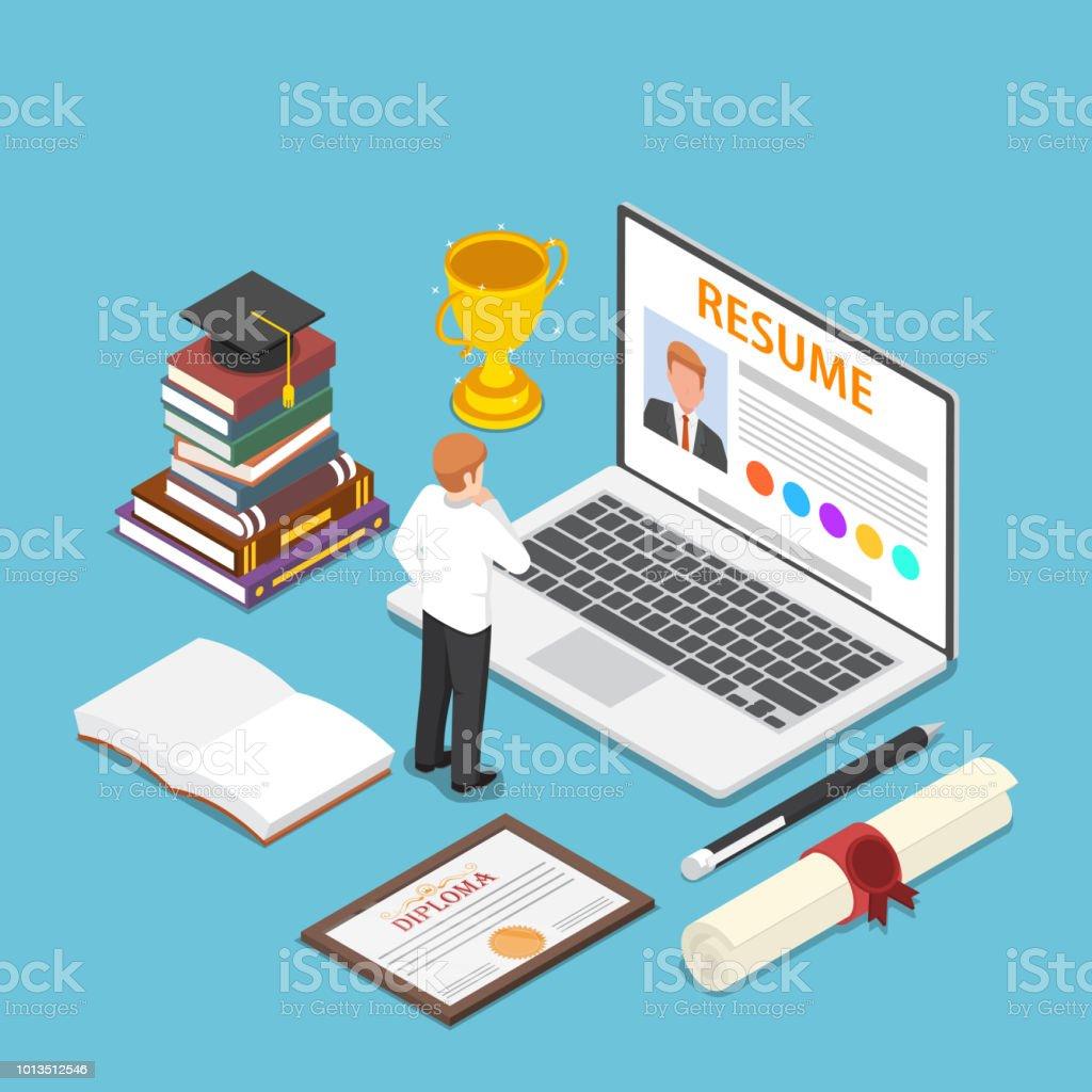 Isometric businessman writing resume on his laptop vector art illustration
