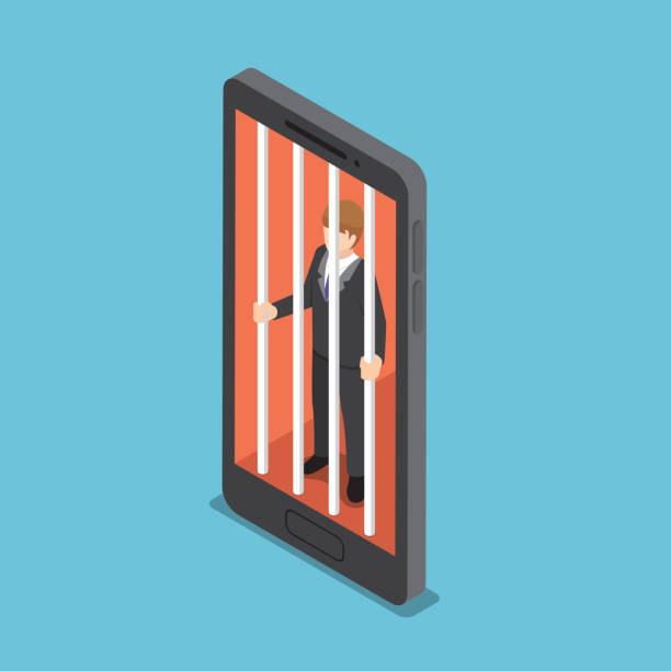 Isometric businessmen are trapped in a smartphone cage. vector art illustration