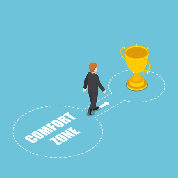 ilustraciones, imágenes clip art, dibujos animados e iconos de stock de isométricos empresarios salen de la zona de confort éxito con el trofeo de ganador - comfortable