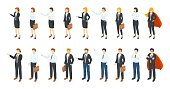 Isometric businessmen. Office employee 3D characters, different men and women standing sitting and communicating. Vector professional workers illustration set