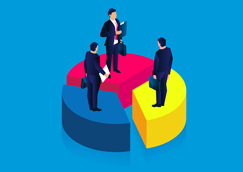 Isometric businessmen standing separately on a segmented pie chart, the concept of market profit and market share