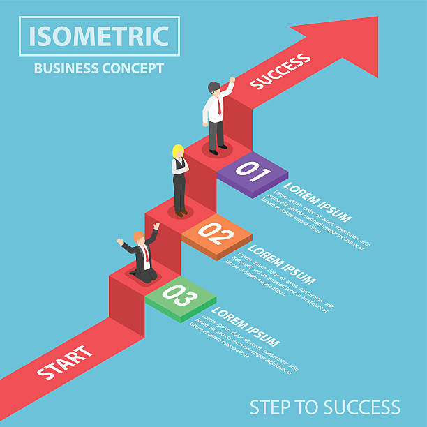 Isometric businesspeople on business graph ladder Businesspeople on business graph ladder, Step to success, Flat 3d web isometric infographics design, VECTOR, EPS10 stepping stock illustrations