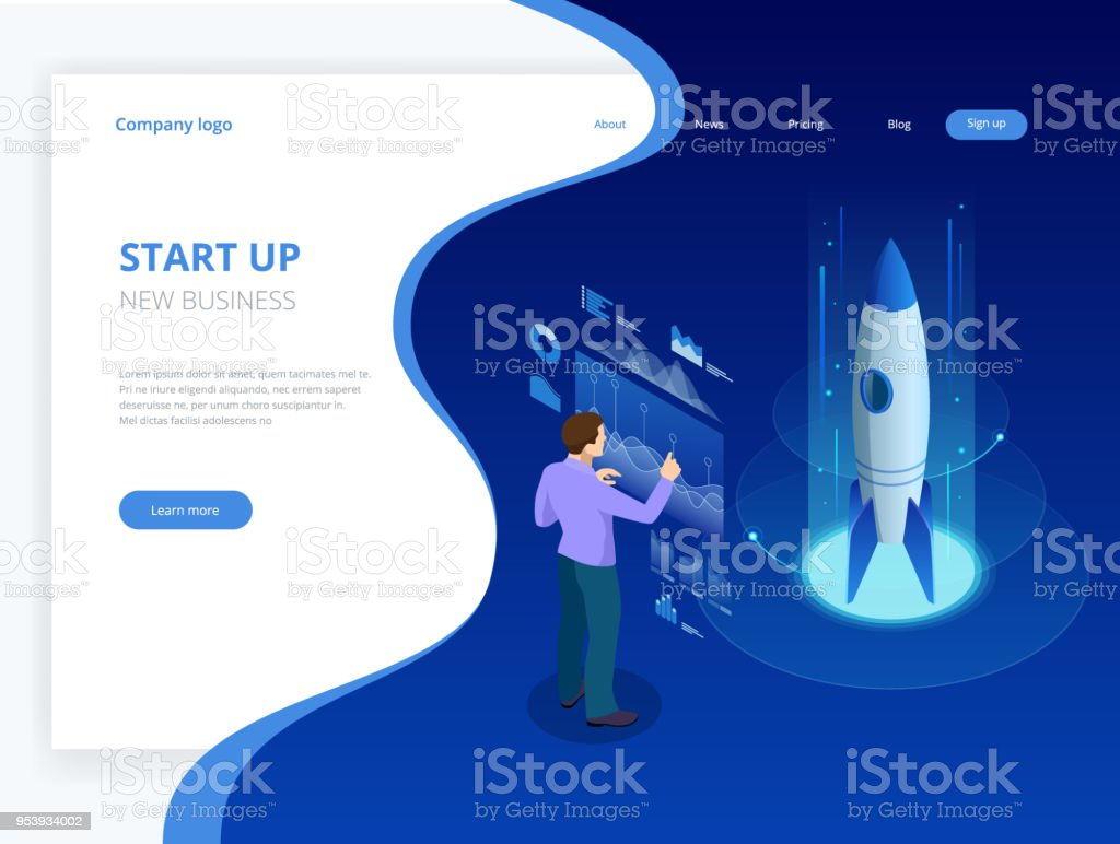 Isometric Businnes Start Up Concept. Income and Success. Vector Business Infographics illustration vector art illustration