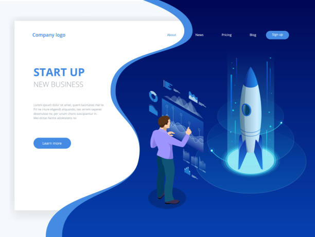 isometric businnes start up concept. income and success. vector business infographics illustration - website infographics stock illustrations, clip art, cartoons, & icons