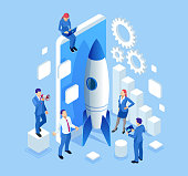 Isometric Businnes Startup for web page, banner, presentation, social media concept landing page design. Income and Success