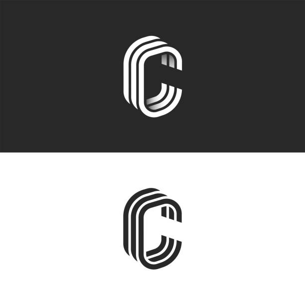 Isometric C letter logo mockup, modern trendy linear design, black and white smooth lines CCC typography emblem Isometric C letter logo mockup, modern trendy linear design, black and white smooth lines CCC typography emblem letter c stock illustrations
