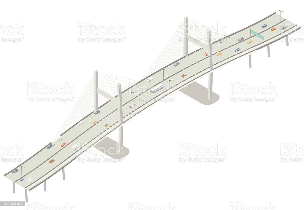 Isometric cable stayed bridge illustration vector art illustration