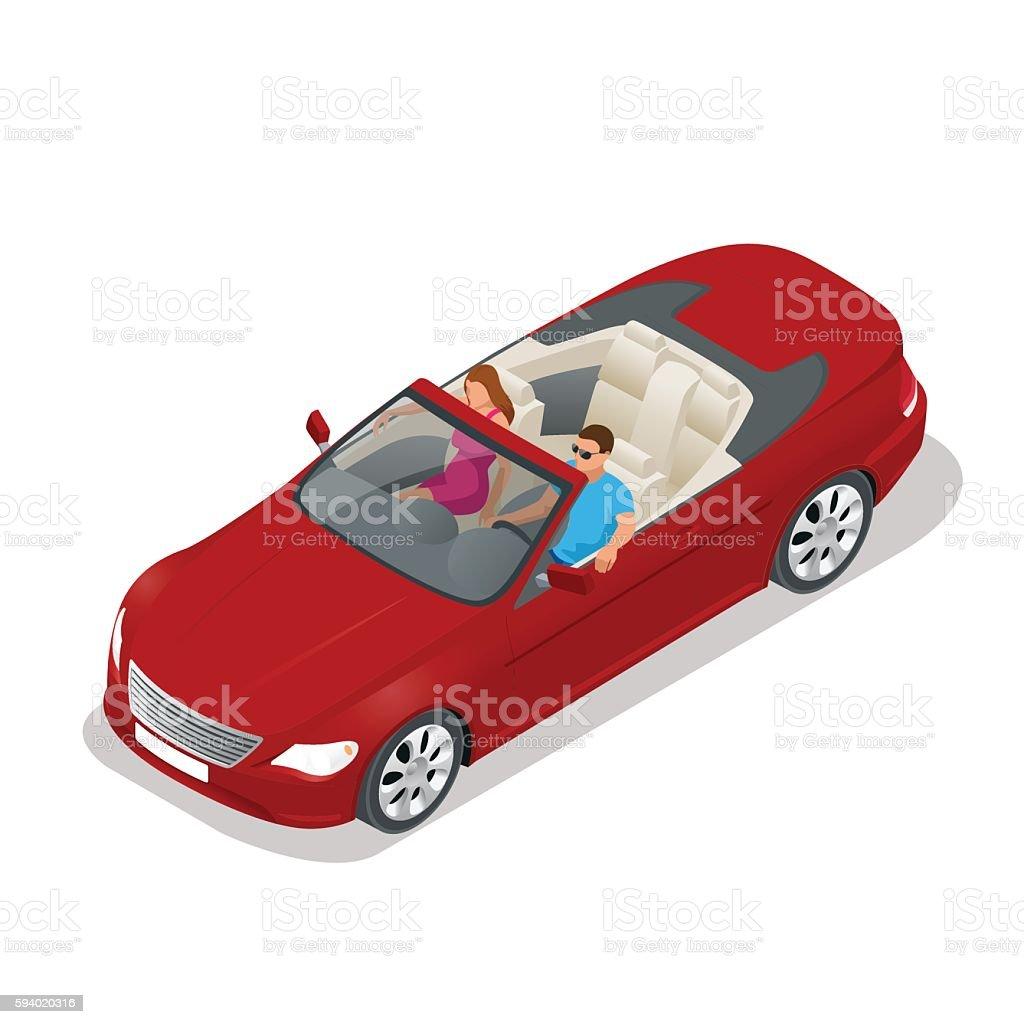 Isometric Cabriolet car vector art illustration