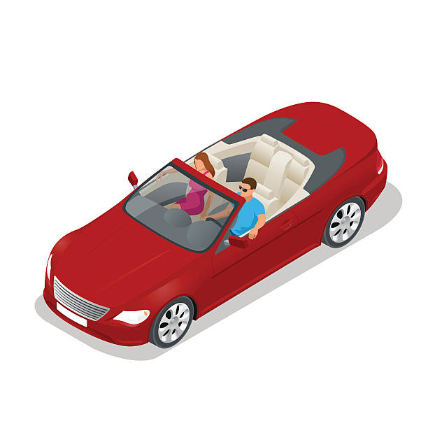 Isometric Cabriolet car Cabriolet car isometric vector illustration. Flat 3d convertible image. Transport for summer travel. Sports car vehicle convertible stock illustrations