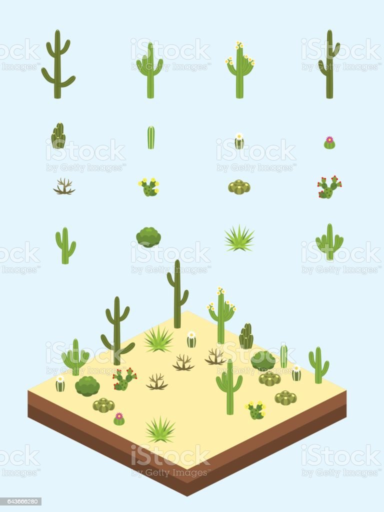 Isometric Cacti and Bushes vector art illustration