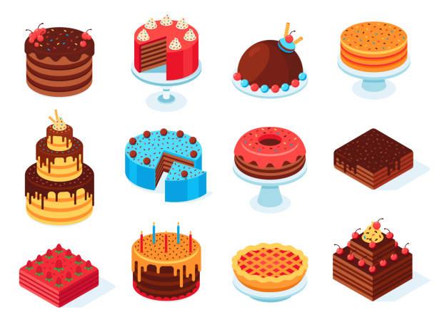 ciasta izometryczne. plasterek ciasta czekoladowego, pyszne krojone ciasto urodzinowe i smaczne różowe ciasto glazurowe izolowane 3d zestaw wektorowy - ciasto stock illustrations