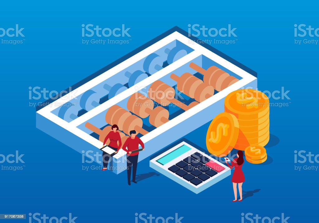 Isometric calculations and finance vector art illustration