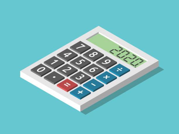 ilustraciones, imágenes clip art, dibujos animados e iconos de stock de calculadora isométrica, año 2020 - planificación financiera