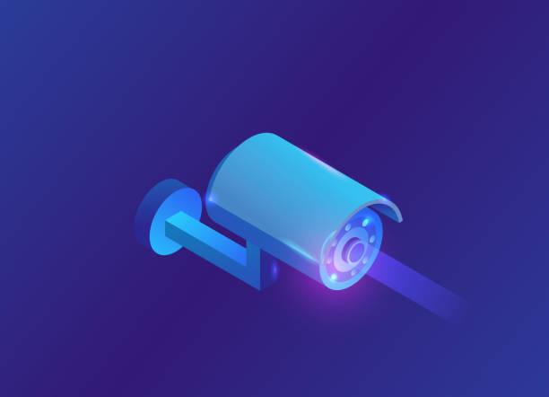 Isometric camera video 3d isometric icon, blue neon symbol of smart multimedia device vector art illustration