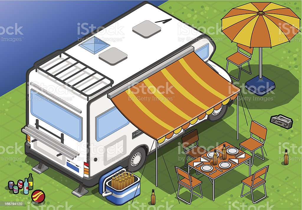 Isometric Camper in Rear View royalty-free isometric camper in rear view stock vector art & more images of camping