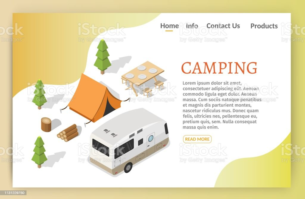 Isometric camping and hiking illustration picnic vector banners