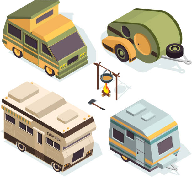 Isometric camping cars. Vector pictures isolate on white Isometric camping cars. Vector pictures isolate on white. Illustration of camper transportation truck, motorhome auto rv interior stock illustrations