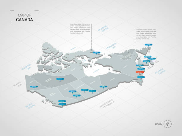 isometric canada map with city names and administrative divisions. - kanada stock illustrations