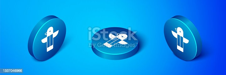istock Isometric Canadian totem pole icon isolated on blue background. Blue circle button. Vector 1337046966