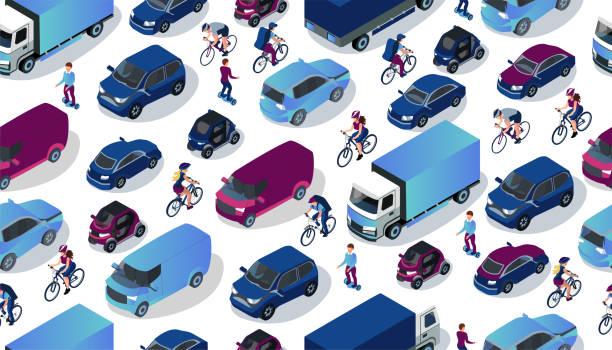 等距汽車收藏。城市交通方式。越野, 轎車, 迷你, 電動車, 卡車, 自行車, 梁板。向量等距3d 運輸。道路交通例證 - traffic 幅插畫檔、美工圖案、卡通及圖標