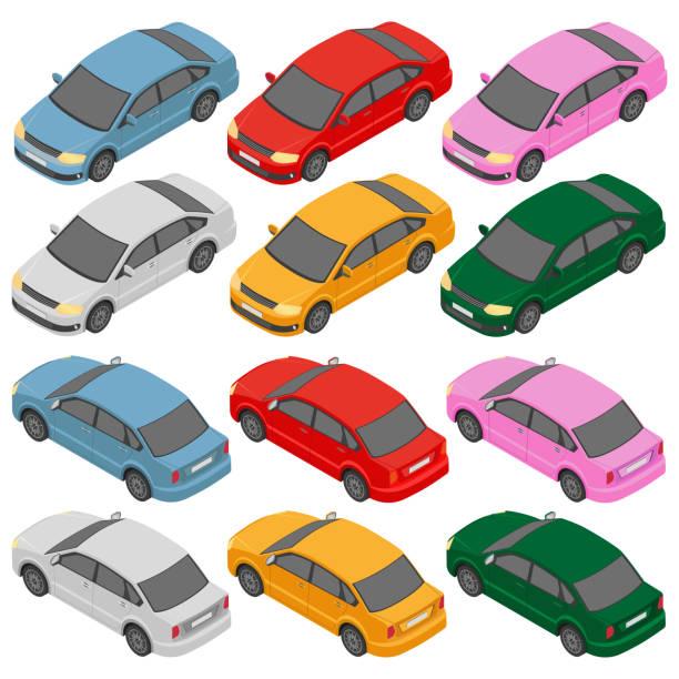 Isometric car, isometric auto. Isometric car, isometric auto. Flat isometric high quality city transport icon set. car stock illustrations