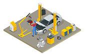 Isometric Car Maintenance Vehicles Diagnostics and Repair Service. Car service Car Engine