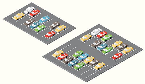 stockillustraties, clipart, cartoons en iconen met isometric car parks - parking