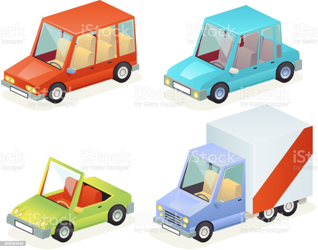 Isometric Car Vehicle Transport Icons Set Design Stylish Retro Cartoon Flat Design Vector Illustration vector art illustration