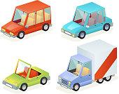 Isometric Car Vehicle Transport Icons Set Design Stylish Retro Cartoon Flat Design Vector Illustration
