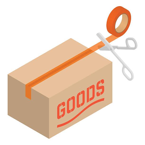 ilustrações de stock, clip art, desenhos animados e ícones de minibarra de ferramentas caixa de cartão com fita e tesoura - box separate life
