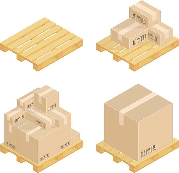 stockillustraties, clipart, cartoons en iconen met isometric cardboard boxes and pallets. - pallet