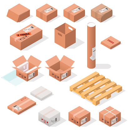isometric cardboard boxes