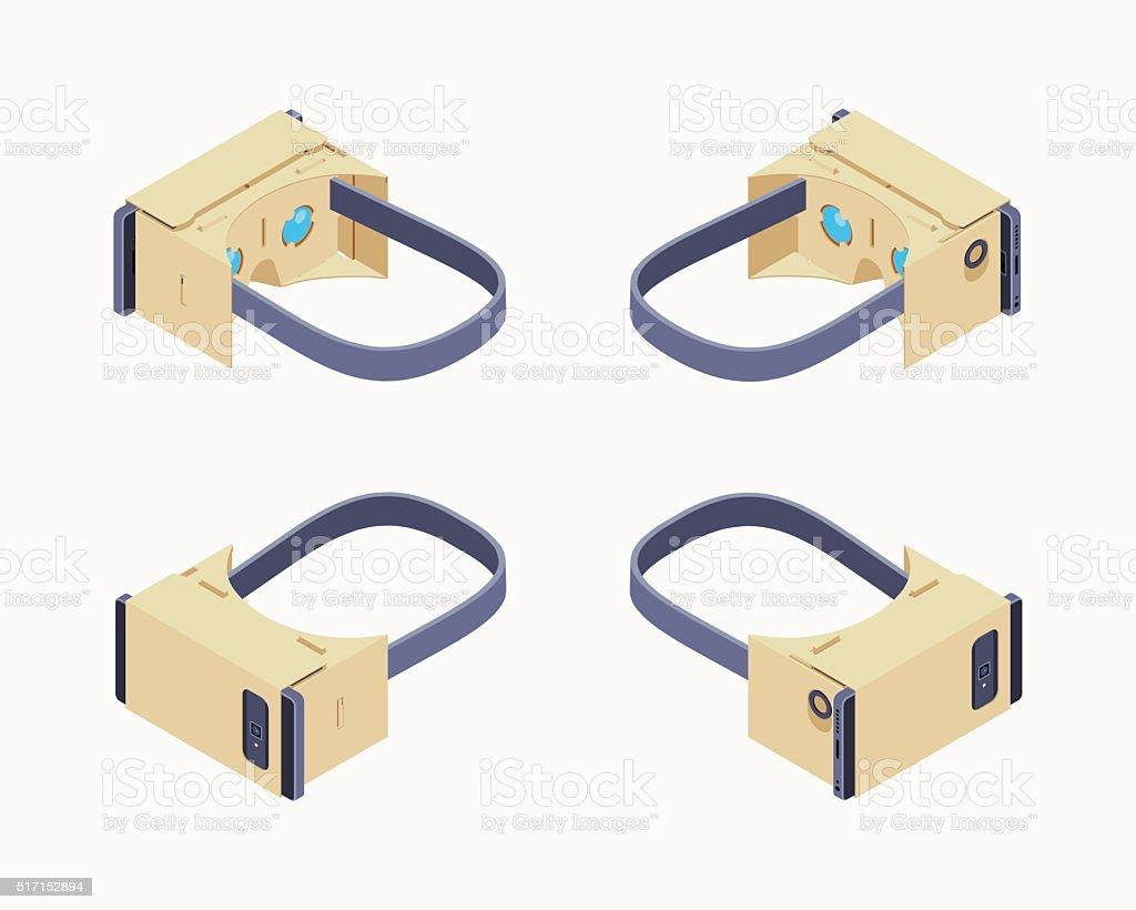 Isometric cardboard virtual reality headset vector art illustration