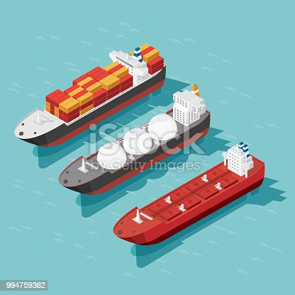 Isometric cargo ship container, oil tanker ship in the ocean transportation, shipping freight transportation. illustration vector