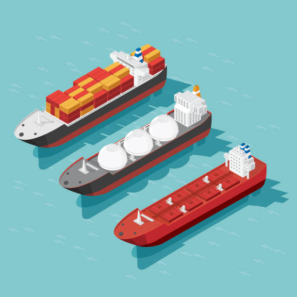 isometric cargo ship container, oil tanker ship in the ocean transportation, shipping freight transportation. illustration vector - statek stock illustrations