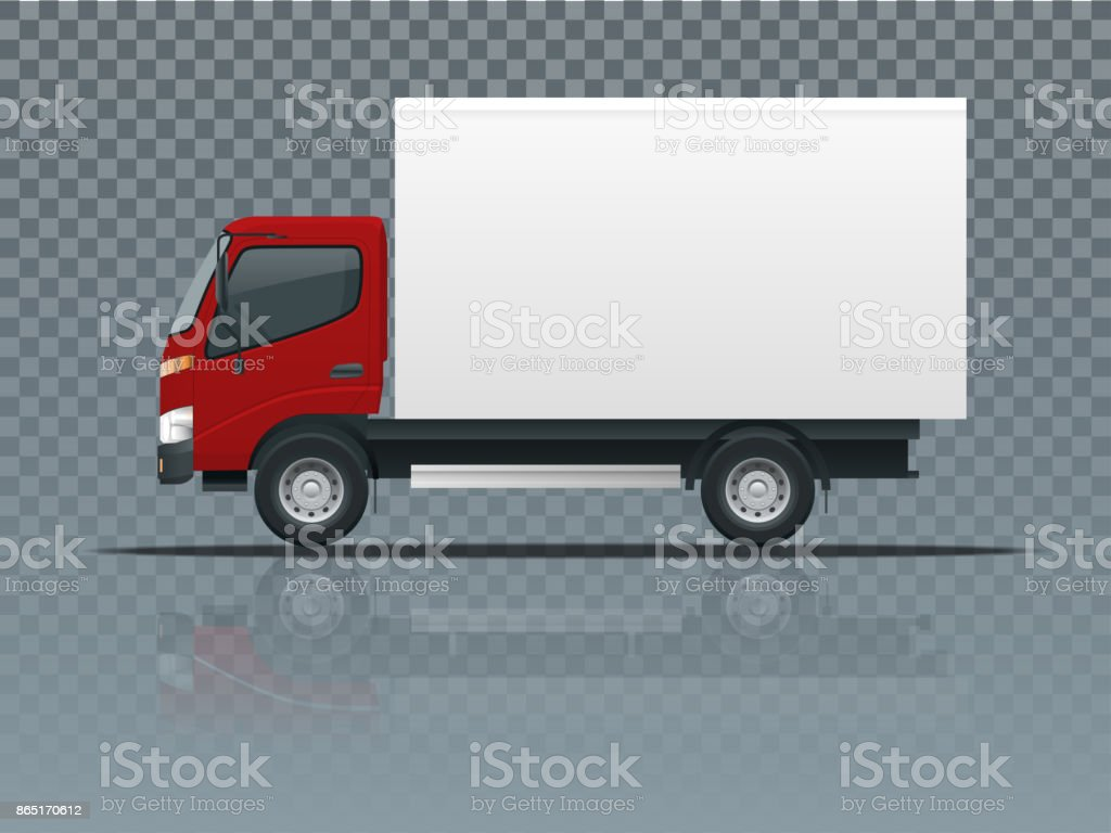 Isometric Cargo Truck transportation on transparent. Fast delivery or logistic transport. Easy color change. Template vector isolated on white View side vector art illustration