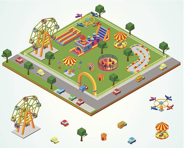 stockillustraties, clipart, cartoons en iconen met isometric carnival - mini amusementpark