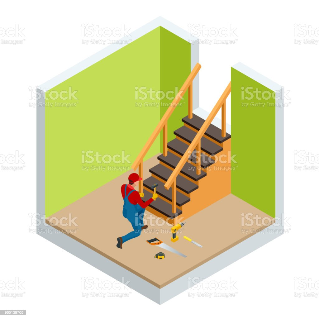 Isometric carpenter building wooden staircase, checking levels for accuracy and quality control in a new home. isometric carpenter building wooden staircase checking levels for accuracy and quality control in a new home - stockowe grafiki wektorowe i więcej obrazów architektura royalty-free