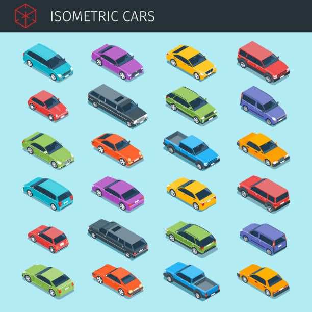 Isometric cars big collection Isometric cars collection with front and rear views. city transport vehicle icons set. 3d vector transport icon. Highly detailed vector illustration hatchback stock illustrations